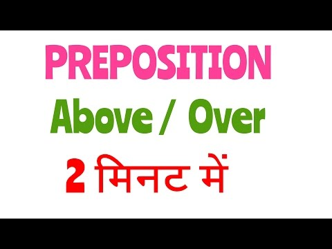 Preposition Above / over , in hindi . Above / over preposition .