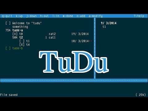 TuDu, ncurses todo list manager with hierarchy, category, priority, etc.