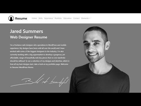 Resume WordPress Theme - Responsive CV Template - Site Builder