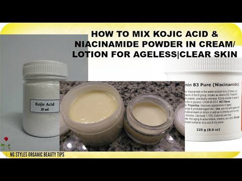 HOW TO MIX KOJIC ACID AND NIACINAMIDE POWDER IN CREAM/LOTION FOR ORGANIC SKIN LIGHTENING | ANTI-AGIN