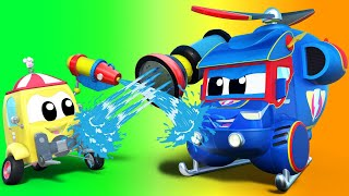 Truck videos for kids -  SONGKRAN: Water Fight Goes Awry - Super Truck in Car City !