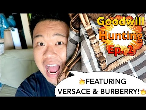 DESIGNER THRIFT HAUL - GOODWILL HUNTING EP. 2 - FEATURING BURBERRY BAGS AND VERSACE PLATES!