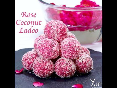 Rose Coconut Ladoo | easy rose coconut ladoo | rose coconut ladoo recipe