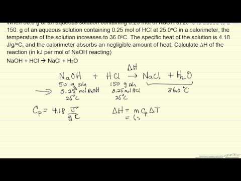 Heat of Reaction from a Calorimeter (Example)