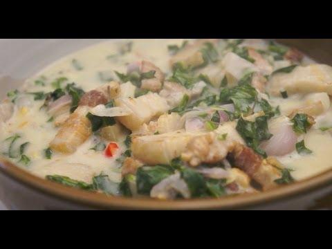 Paano magluto Ginataang Dahon ng Gabe Baboy recipe Pork Yam leaves Pinoy Filipino Tagalog