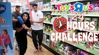 24 HOUR OVERNIGHT CHALLENGE AT TOYS R US (WE SET OFF THE ALARM!)