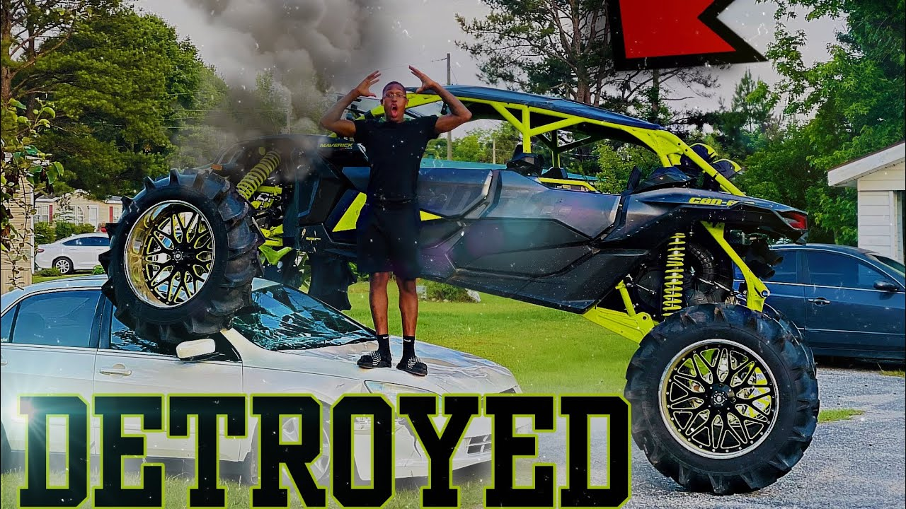 DESTROYED MY SISTER CAR WITH MY CAN-AM ! (CRAZY REACTION)