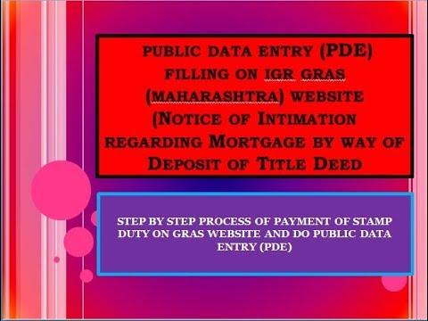 public data entry (PDE) filling on IGR GRAS website (Notice of Intimation regarding Mortgage)