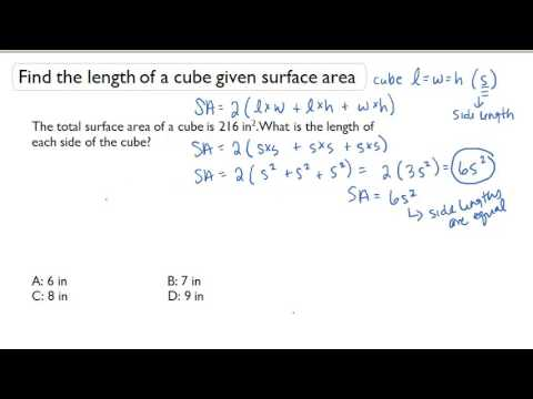Find the length of a cube given surface area