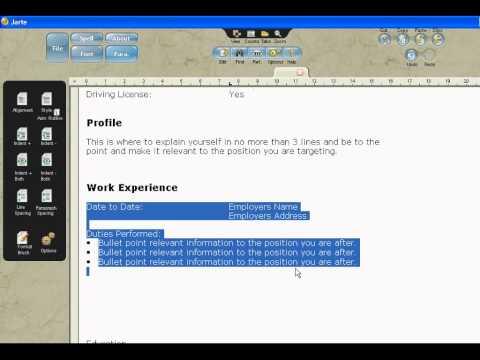Create A CV With Jarte Word Processor