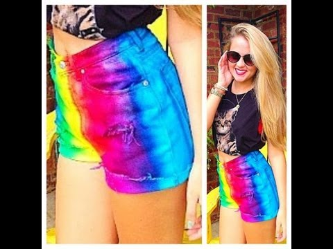 DIY: Rainbow Shorts  CHEAP & SIMPLE
