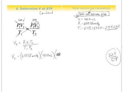 Chm0085 molar volume of hydrogen gas lab calculations