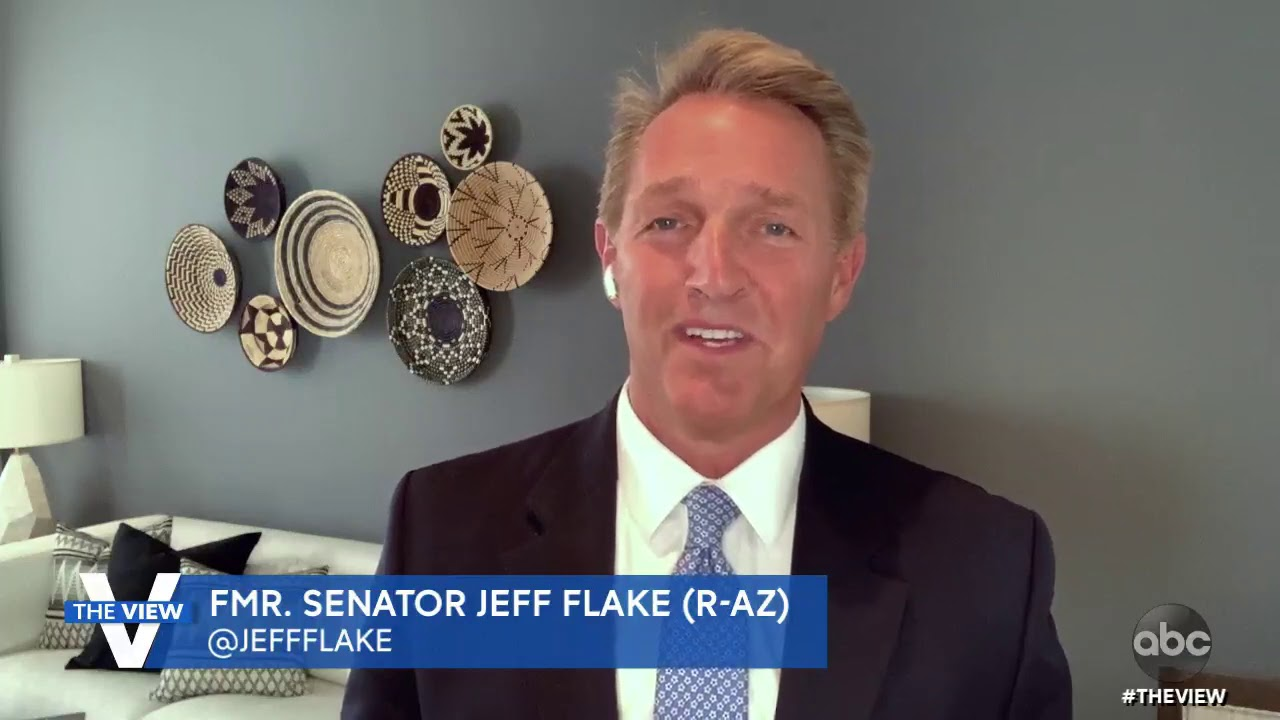 """Jeff Flake """"Glad"""" to See Pence Separate Himself from Trump Following Capitol Attack 