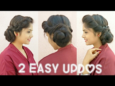 2 Easy Messy Bun Updo Hairstyles ★ DIY Quick Summer Updo Hairstyles For Long/Medium Hair