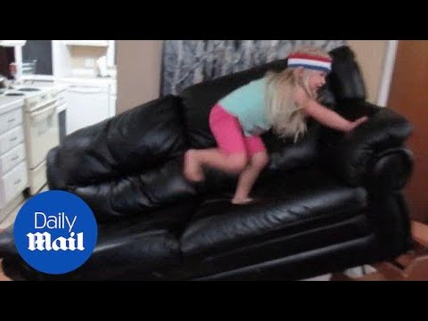 Little girl completes obstacle course in her living room - Daily Mail