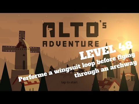 Alto's Adventure - Performe a wingsuit loop before flying through an archway - Level 48