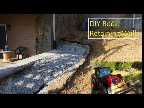 DIY Rock Retaining Wall project 10-14-17
