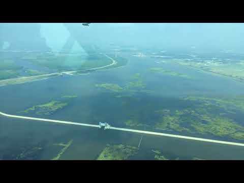 Aerial view of New Orleans and coastal restoration projects