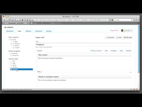 Fork CMS - Creating a new page