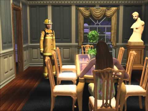 Sims 3- The firefighter won't leave my house...