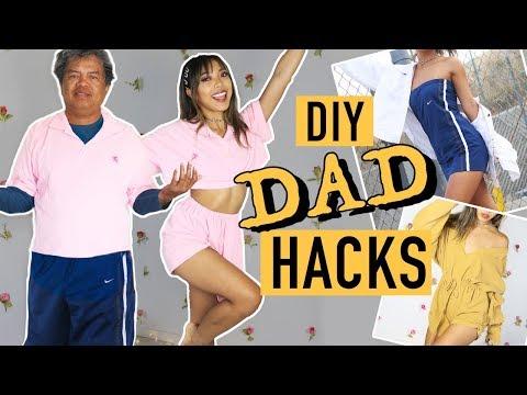 TRANSFORMING MY DAD'S CLOTHES DIY HACKS! | Nava Rose