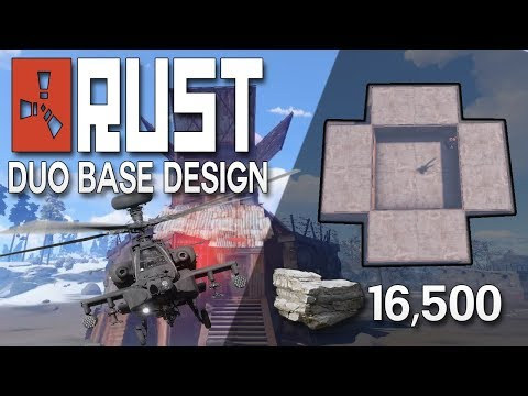 HARD TO RAID DUO BASE WITH HELI TOWER! - Rust Base Building (16,500 Stone)