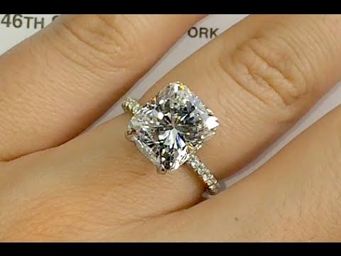 5.36 ct Cushion Cut Diamond Engagement Ring