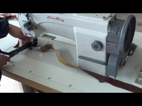 Triple feed leather sewing machine for binding operation