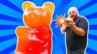 GIANT GUMMY BEAR VS POTATO GUN!! **DO NOT TRY THIS**