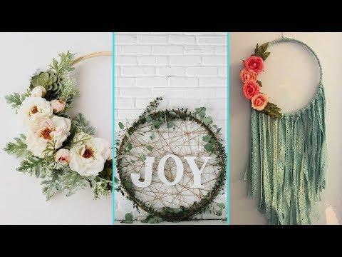 ❤ DIY Shabby chic style Hula Hoop Wreath decor Ideas ❤| Home decor Ideas| Flamingo Mango|