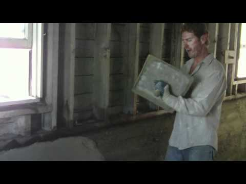 Repair Interior basement foundation walls with cement plaster, parging