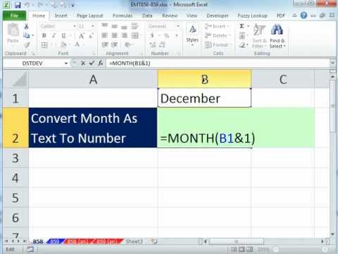 Excel Magic Trick 858: Convert Month As Text To Number January = 1, February = 2, Etc.