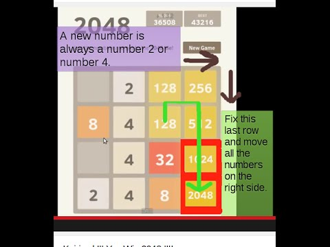 2048 game solution with tricks !!! You Win !!!! 2048