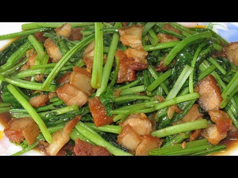Stir Fry Choy Sum With Pork Recipe - Amazing Girl Cooking - Asian Food