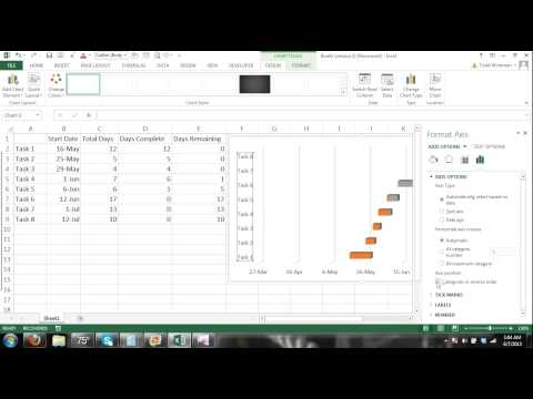 How to Make a Gantt Chart Microsoft Excel 2013 Tutorial #2   Automated Progress