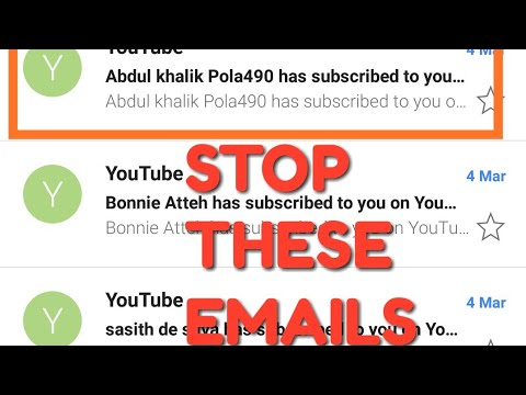 How to stop EMAIL notification from YOUTUBE SUBSCRIPTION