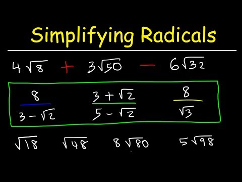 How To Simplify Radicals - Simplifying Square Roots - Algebra 2 Review, Basic Introduction