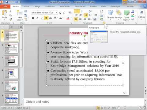 PowerPoint 2010 Add Space after a Paragraph