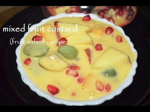 Custard Fruit Recipe/Fruit custard in Kannada/Fruit salad with custard-Vaishnavichannel
