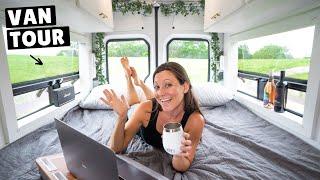 VAN TOUR | Sprinter Van Converted to Beautiful Tiny Home for Full-Time VAN LIFE