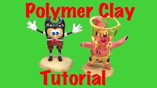 Spongebob characters as Bendy And The Ink Machine ( Polymer Clay Tutorial )