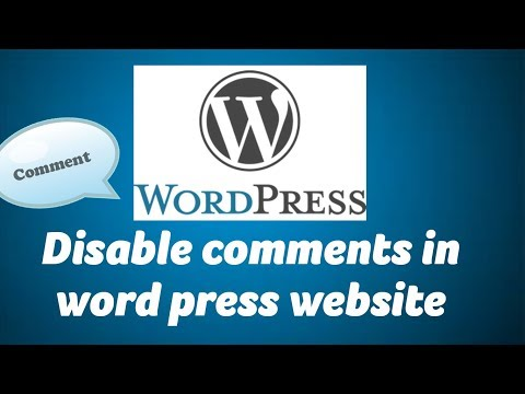 Disable comments in word press website