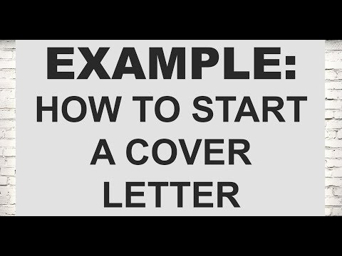 Example of how you start your letter (Legal Cover Letters)