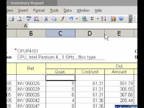 Microsoft Office Excel 2003 Change the width to a specific width