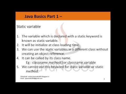 Java Basics Part 1 - Q 13) Understanding Static