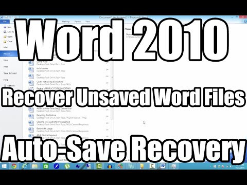 How To Recover Unsaved Word 2010 Document - Will Also Recover Lost Word Documents