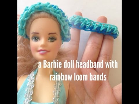Barbie doll head band with rainbow loom bands/loomless