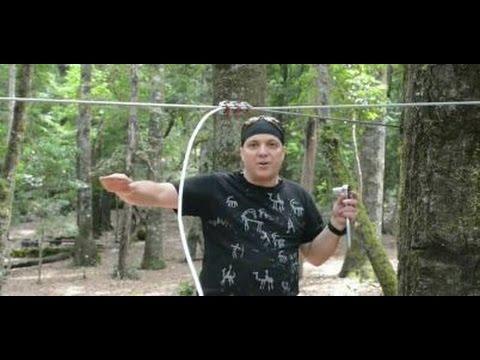 Zipline Tutorial - How to tension a Zip Line w/o turnbuckle