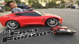 Fast and Furious R/C Car vs Powerwheels Corvette Race