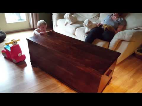 James pushing the cedar chest